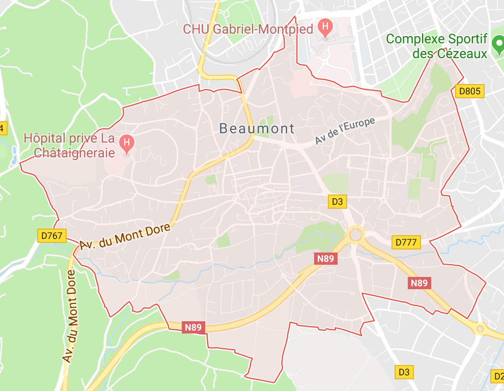 Carte GoogleMaps de la commune de Beaumont (63110)